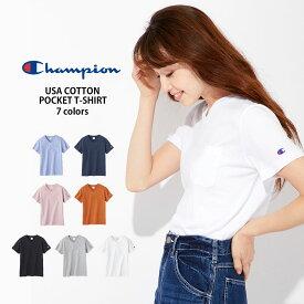 Champion ポケット付きVネックTシャツ ウィメンズRight-on,ライトオン,CWSP305R,チャンピオン,Champion,半袖,春夏,米綿コットンUSA,無地,S,M,L,シンプル,可愛い,カジュアル,綿100%,USAコットン