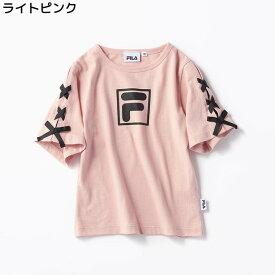 (フィラ)FILA 袖レースアップTシャツ キッズRight-on,ライトオン,RX0983,半袖 春夏 女の子 子供 子ども 100cm 110cm 120cm 130cm 140cm 3色展開