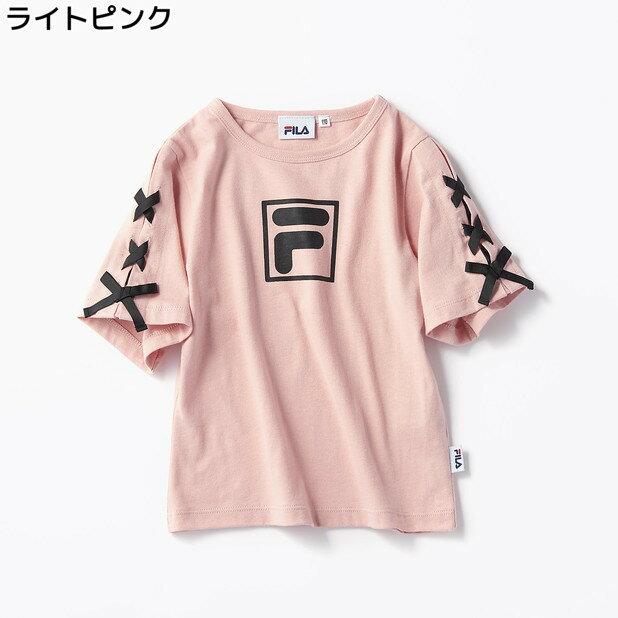 (フィラ)FILA 袖レースアップTシャツ(ジュニアサイズ150cm) キッズRight-on,ライトオン,RE1953,半袖 春夏 女の子 子ども 子供 3色展開
