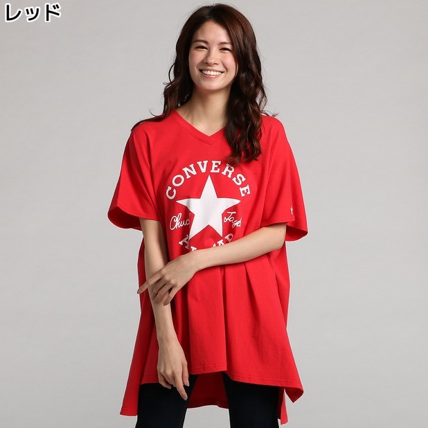 (コンバース)CONVERSE VネックビッグTシャツ ウィメンズRight-on,ライトオン,8282-8937,CONVERSE,コンバース,