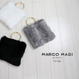MARCO MASI マルコマージファーバッグ MAR-2794メタリックハンドル ラビットファー 斜めがけ レザーバッグ2wayバッグ 全3色 秋冬 レディース