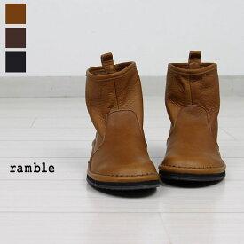 ランブルコンフォート ramble comfortオイルシュリンクレザーショートブーツ 373-73390ブーツ シューズ 靴 アウトステッチ コンフォートシューズレザーシューズ レザーブーツ レディースブラウン ダークブラウン ブラック 22.5-24.5cm