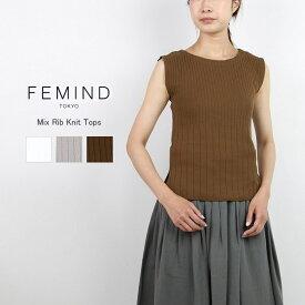 FEMIND TOKYO フェマイントウキョウミックスリブニットトップス 182106365メール便可ニットトップス リブニット ノースリーブ 薄手 クルーネック全3色 フリーサイズ 春夏