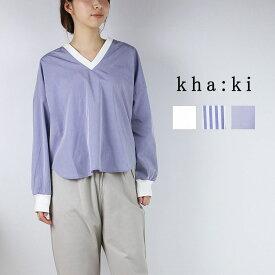 kha:ki カーキV/N WOVEN WIDE TOP MIL-19HBL76送料無料シャツ ブラウス タイプライター プルオーバーシャツ Vネックサイドスリット ストライプ サックス ホワイト Mサイズ
