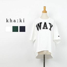 """kha:ki カーキWIDE SQUARE TEE """"WAY"""" MIL-19SCS167Aメール便送料無料Tシャツ ロゴTシャツ コットン リメイクTシャツ オーバーサイズラバープリント ヴィンテージ風 ラウンドへム 全3色 1/M 春夏 レディース"""