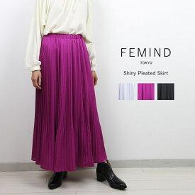 FEMIND TOKYO フェマイントウキョウシャイニープリーツスカート 184214502送料無料メール便不可プリーツスカート スカート ロングスカート シャイニーカラー ウエストゴム仕様 ギャザースカート全3色 フリーサイズ