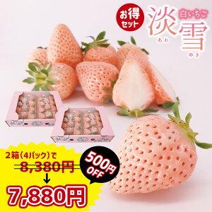 【500円OFFセット!】白いちご淡雪 Lサイズ以上 約270g×4P 送料無料