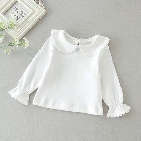 ベビー 赤ちゃん ブラウス キッズ ベビー ブラウス 女の子 長袖 トップス 子供服 女の子 ブラウス 60 70 80 90 cm ホワイト 白 襟付き