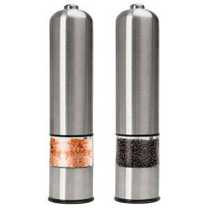 電気コショウ、コショウ、岩塩、塩スプレー、厚さ調節可能な2パックのステンレス鋼
