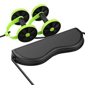 腹筋ローラー フィットネス機器 筋トレ ドローストリング 調節可能 腹部エクササイズマシン アブローラー シェイプアップローラー 静音 トレーニングチューブと膝パッド付き 自宅で有酸素運動 男女兼用