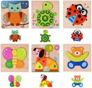 木製パズル モンテッソーリ教育おもちゃ 木製ジグソーパズル 6歳以上の教育玩具、色の形認知スキル学習玩具、6種類のかわいい動物パズル、女の子と男の子用 (木製パズル)