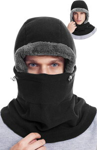 フードウォーマー 防寒 バラクラバ フェスマスク ネックウォーマー 目出し帽 冬 フリース 暖かい ネックマスク 帽子 アウトドア スポーツ スキー スノボ 自転車 バイクなどに 男女兼用