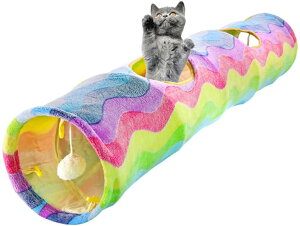 猫トンネル おもちゃ 虹パターン 折りたたみ 子猫トンネル インタラクティブ ペットチューブ 楽しいボール 2のぞき見穴小中大 猫犬 小さな家動物 ペットベッド ペットハウス マット 三角 ト