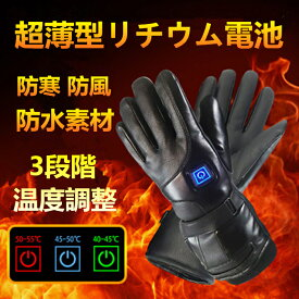 ヒーターグローブ 電熱グローブ ヒーター手袋 加熱手袋 バイク グローブ バッテリー発熱手袋 電熱手袋 防寒グローブ メンズ電熱手袋 電気加熱手袋 バッテリー充電式 3速温度調整 4000mAhバッテリー タッチスクリーン