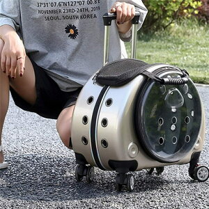 ペットキャリーバッグ 多機能 リュック キャスター 4輪 伸縮ハンドル 猫 小型犬 小動物適用 大容量 携帯やすい 透明 ペットバッグ アウトドア 通院 散歩 車載 避難 旅行 電車移動 お出かけ便