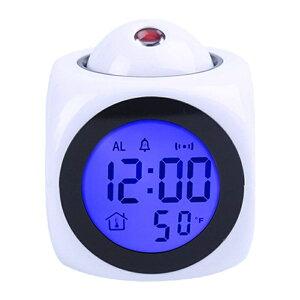 目覚まし時計、壁に映し出される時間表示、1時間ごとの音声計時、温度表示、スヌーズ機能、バックライト機能、デュアル電源、エキゾチックな
