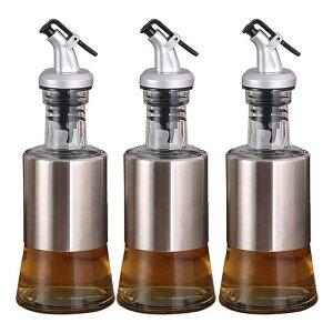 オイルボトル ガラス フタ付き 液体デフレクタ ?油差し よい気密性 お酢入れ 漏れ防止 キッチン用品 3個セット(200ml+200ml+200ml)