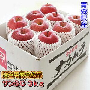 【予約商品】【おすすめギフト】糖度13度以上「サンふじ」最高級品3kgダンボール・フルーツキャップ詰(約9〜10玉入)