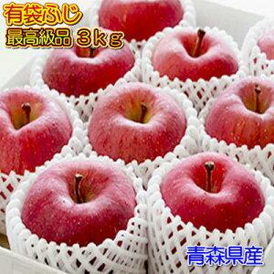 贈答用『有袋ふじ』最高級品3kgダンボール・フルーツキャップ詰(約9〜10玉入)