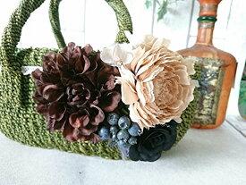 お花で飾ったかごバッグ M グリーン