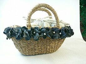 デニムの花のかごバッグ(グレー) Mサイズ