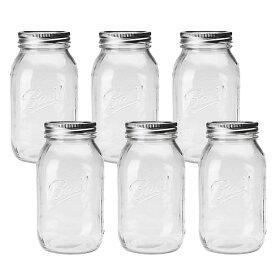 BALL【ボール】Mason Jar メイソンジャー 32oz レギュラーマウス ガラス保存瓶 (940ml) 6本セット