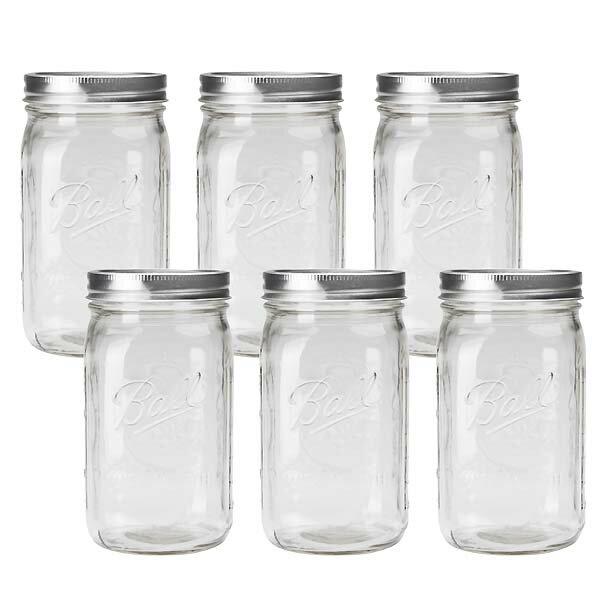 BALL【ボール】Mason Jar メイソンジャー 32oz ワイドマウス ガラス保存瓶 (940ml) 6本セット