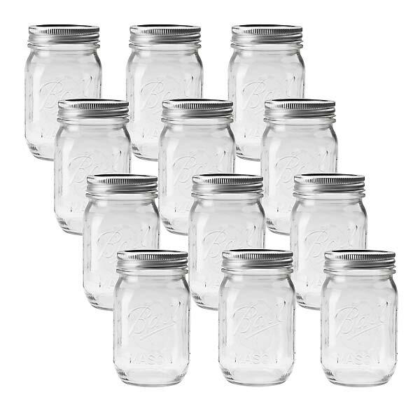 BALL【ボール】Mason Jar メイソンジャー 16oz レギュラーマウス ガラス保存瓶 (480ml) 1ダース