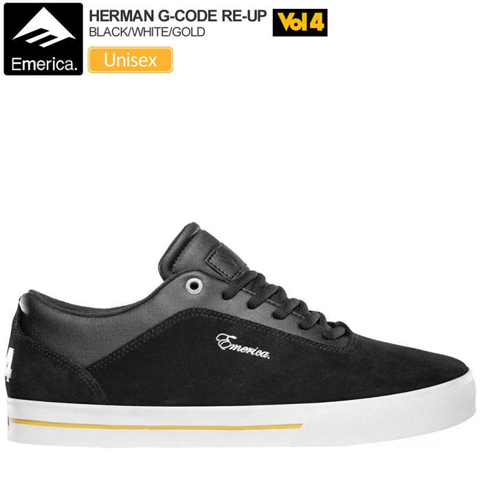 ・エメリカ×ボリューム4 スニーカー ハーマン Gコード リアップ[ブラック/ホワイト/ゴールド]EMERICA×VOL4 HERMAN G-CODE RE-UP メンズ レディース【靴】_snk_1801ripe