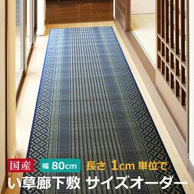 【純国産】廊下敷 サイズオーダー幅約80cm×長さ1cm単位でオーダーセピア ブルー 日本製 い草 天然素材 廊下 切り売りロングマット ロングカーペット