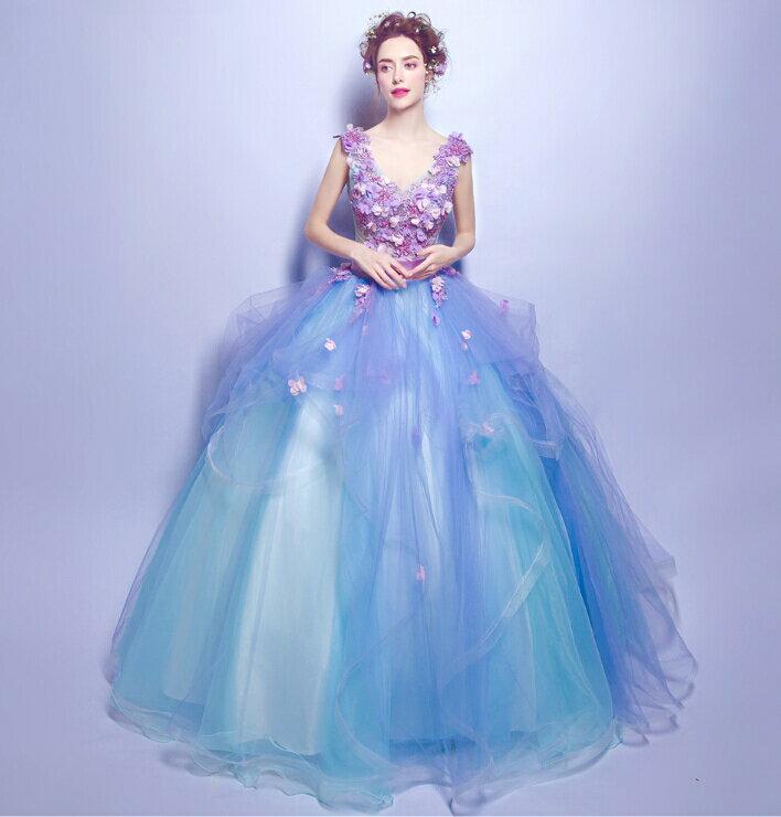 ウェディングドレス カラードレス フラワー flower パール ドレス 結婚式 披露宴 欧米