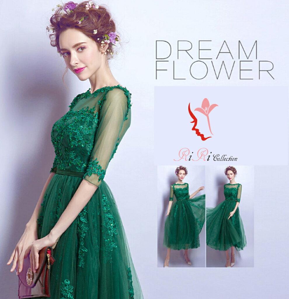 パーティードレス ドレス 上品なグリーン 結婚式 披露宴
