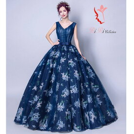 fcc8dd6283012 新作 カラードレス ネイビー 二次会ドレス 高級 上品 カラードレス 花柄 刺繍 ドレス 結婚式