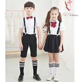 c88d591797cac 即納サイズあり♪男の子 女の子 制服 Yシャツ キッズ 短パン スカート 蝶ネクタイ サスペンダー 100