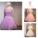 ウェディングドレス 総着丈約80CM 3カラー パープル 薄紫 ライトピンク シャンパンゴールド 編上げ ドレス 結…