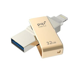 iPhone 外付け 32GB ゴールド  USBメモリー バージョン更新に対応♪ USB 増設 容量 不足を解決 写真 動画保存楽々♪ pqi iconnect  3.0 ストラップ付♪携帯 スマートフォン パソコン USB-00332gdiPhone7/7Plus/SE/6s/6sPlus対応/ipod/ipad/Apple