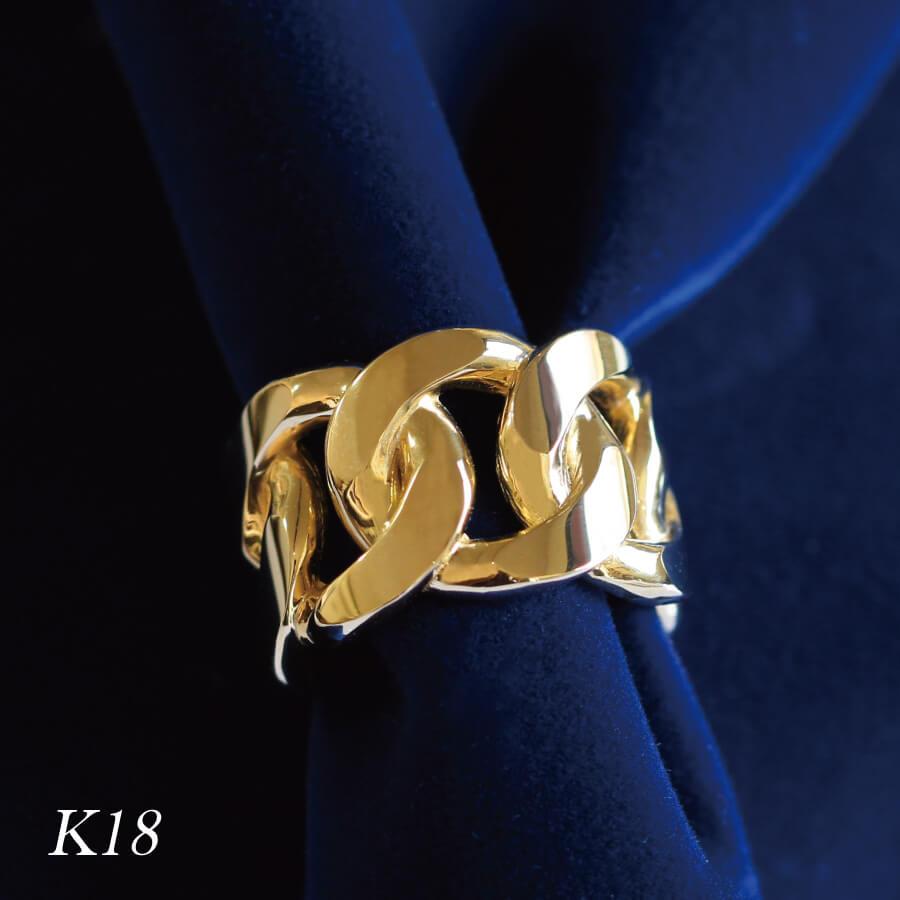 18金 K18 リング 指輪 チェーンリング ゴールド レディス 太め 極太 18金 K18 ミディリング サムリング ピンキーリング