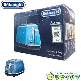 【新古品】M▽未使用 Delonghi デロンギ トースター ポップアップ式 4枚切り対応 デザイン家電 ブルー CTO2003J (18047)