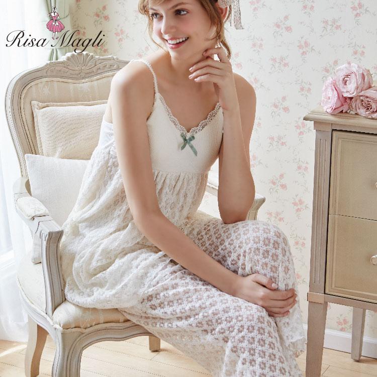 Risa Magli(リサマリ)【Roomwear(テレコレース/17AW)】カップ付キャミソール+ロングパンツセット(2017Autumn Winter)(返品交換不可商品)【50OFF】