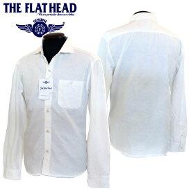 THE FLAT HEAD(ザ・フラットヘッド)Club Label 花柄刺繍 ワイドスプレッド 長袖シャツ ホワイト/ネイビー CL-SH013【メンズ/アメカジ/フラヘ/長袖/花柄/白シャツ/日本製/送料無料】