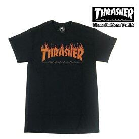 【クーポンでさらに100円OFF】スラッシャー メンズ 半袖 Tシャツ ロゴ THRASHER Flame Halftone T-shirt【USAモデル】thrasher104(単品購入に限りメール便発送)
