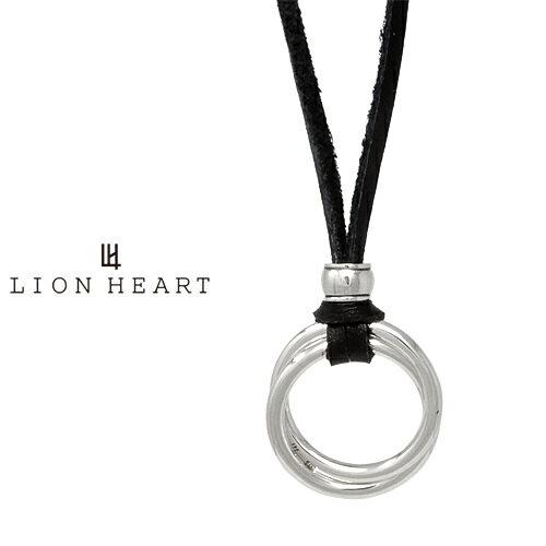 LION HEART for Gift ダブルリング レザーネックレス ブラック 01NE1031SB ライオンハート レザー ネックレス [LH]