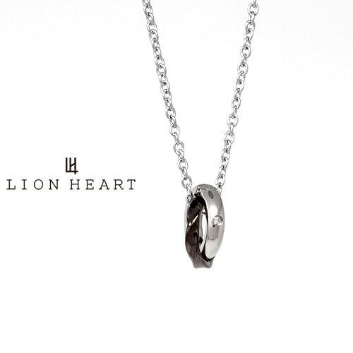 LION HEART Double Ring Collection ウェーブダブルリングネックレス ブラック 03NE0045BK ライオンハート ステンレス ネックレス [LH]