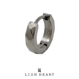 ライオンハート LH-1 WEB限定 カッティング フープピアス ブラック 03EA0015BK LION HEART ステンレス ピアス 1点売り 片耳用 メンズ [LH] 誕生日 プレゼント ギフト