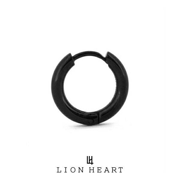 ライオンハート LH-1 Monotone プレーンフープピアス ブラック 03EA0055B LION HEART ステンレスピアス 1点売り 片耳用 メンズ [LH]