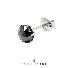 ライオンハート PROGRESSO プラチナ ブラックダイヤモンドピアス/Lサイズ 04E12PS/L LION HEART ピアス 1点売り 片耳用 1粒 シンプル 黒 おしゃれ キャッチ (LH) メンズ ブランド ギフト(誕生日 プレゼント) 送料無料