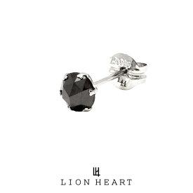 ライオンハート PROGRESSO プラチナ ブラックダイヤモンドピアス/Mサイズ 04E12PS/M LION HEART ピアス 1点売り 片耳用 1粒 シンプル 黒 おしゃれ キャッチ (LH) 誕生日 プレゼント ギフト メンズ ブランド 送料無料