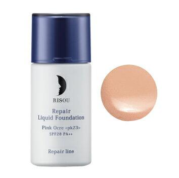 美容液 成分 リペア リキッド ファンデーション【ピンクオークル】天然 由来 保湿 美容液 ファンデ ならリソウで