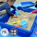 リスの砂場 抗菌 80 砂場 庭 ベランダ ブルー タライ たらい 業務用 プラスチック サンドボックス 子供 79リットル 79…