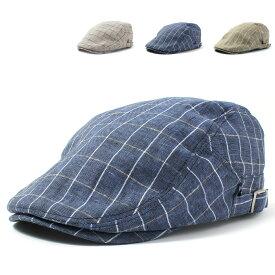 【麻素材】ベーシックエンチ Windowpane Hunting チェック ハンチング 帽子 トラディショナル クラシック メンズ レディース 春夏 シンプル 鳥打帽 アウトドア アイビー 黒 全3色 フリーサイズ bcl-k90355